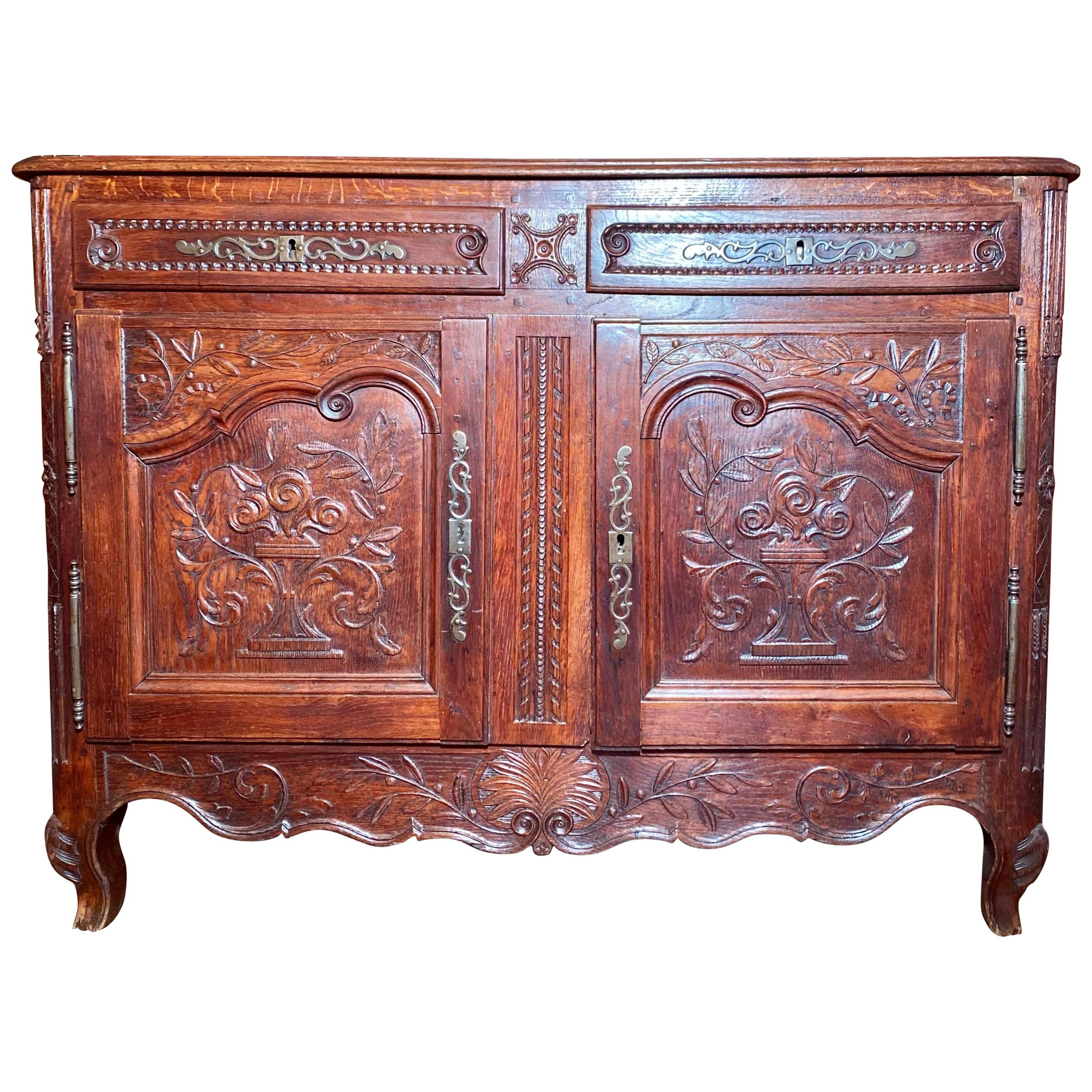 Antique 19th Century French Provincial Fruitwood Buffet.