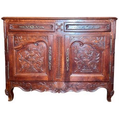 Antique French Provincial Fruitwood Buffet, 19th Century