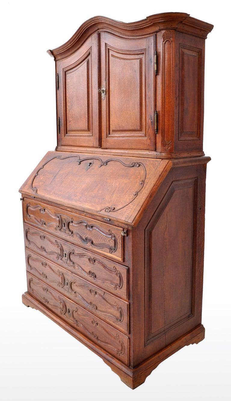Antique French Provincial Oak Secretary/Bureau Bookcase, circa 1770 In Good Condition For Sale In Portland, OR