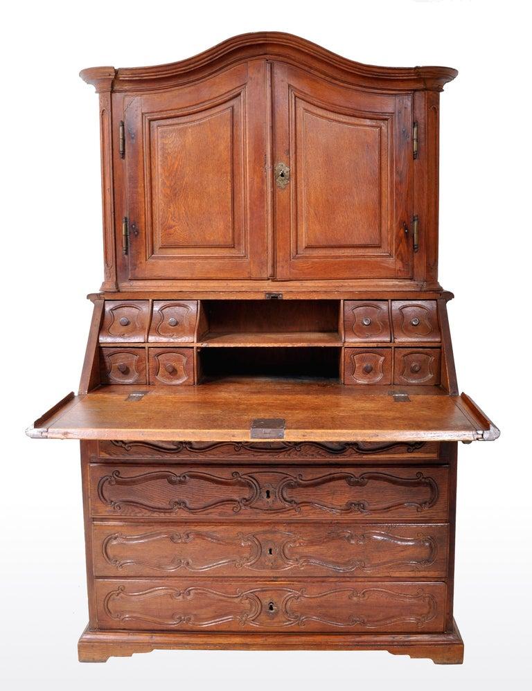 Late 18th Century Antique French Provincial Oak Secretary/Bureau Bookcase, circa 1770 For Sale