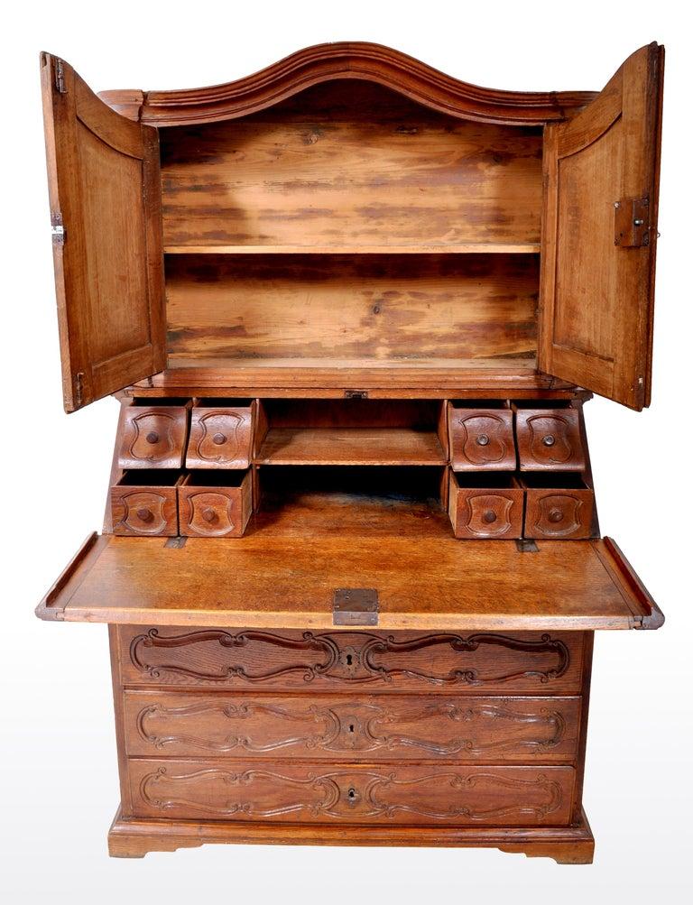 Antique French Provincial Oak Secretary/Bureau Bookcase, circa 1770 For Sale 5