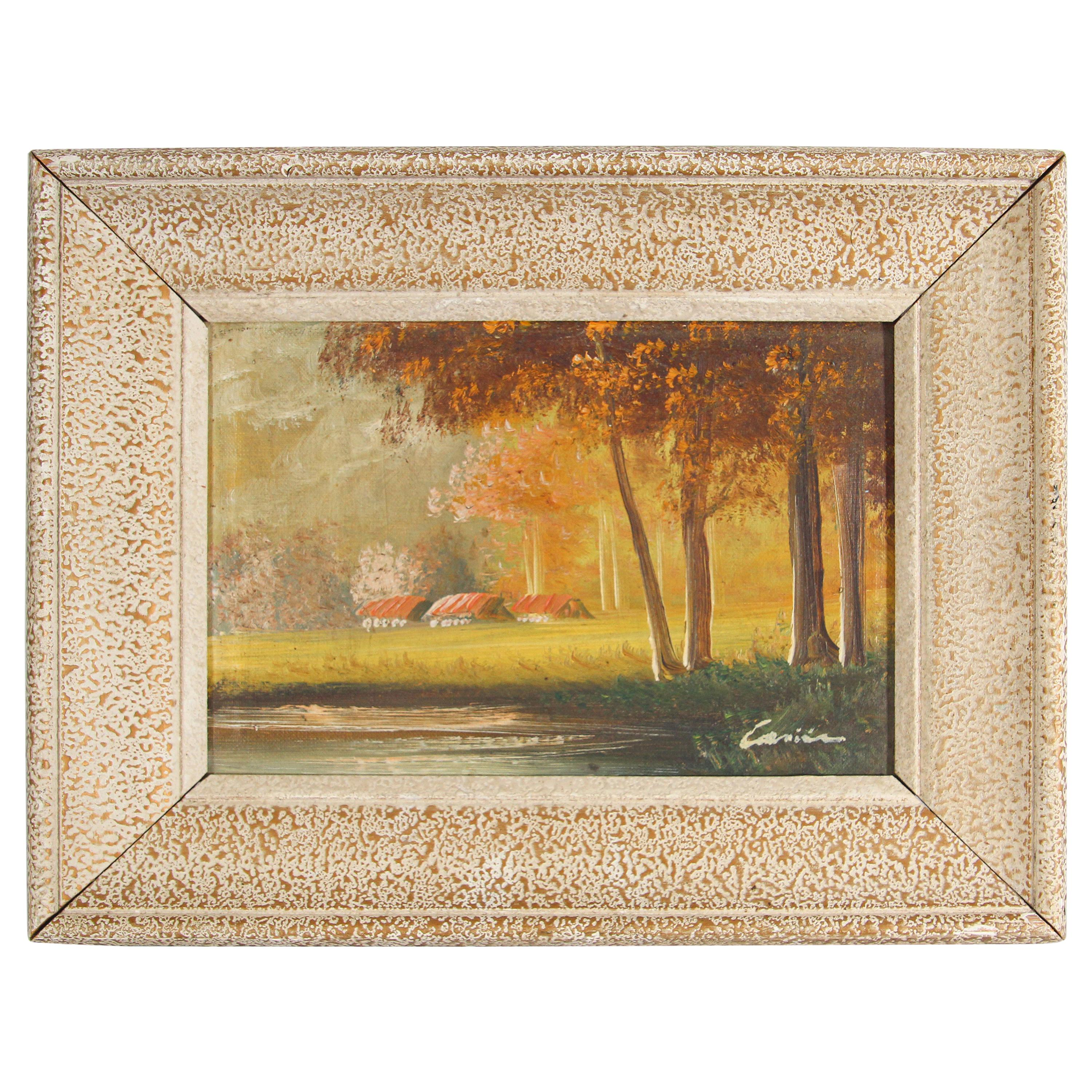 Antique French Provincial Oil on Canvas Painting