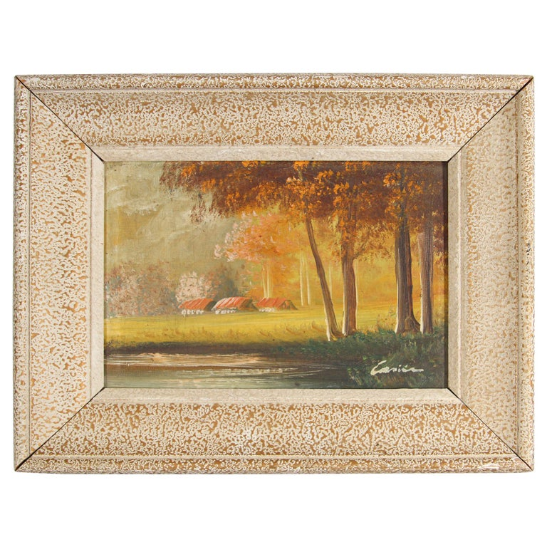 Antique French Provincial Oil on Canvas Painting For Sale