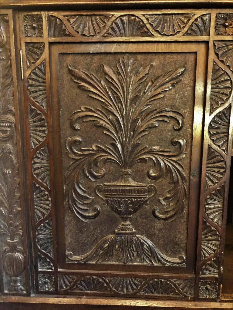 Antique French Provincial Ornately Carved Oak Corner Cabinet with Heraldic Crest For Sale 3