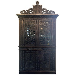 Antique French Provincial Ornately Carved Oak Corner Cabinet with Heraldic Crest