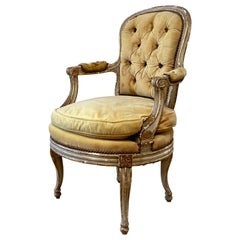 Antique French Provincial Painted and Upholstered Open Arm Chair