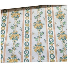Antique French Provincial Paul Dumas Floral Hand Printed Wallpaper, Green Yellow