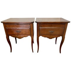 Antique French Provincial Style Walnut End Tables Nightstands