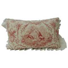 Antique French Toile Decorative Bolster Pillow with Grain Sack Trim