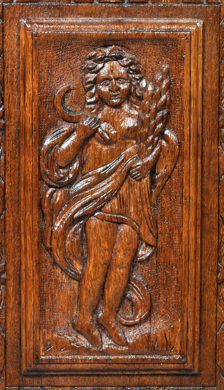 Antique French Baroque Carved Oak Corner Cabinet, circa 1780 For Sale 7