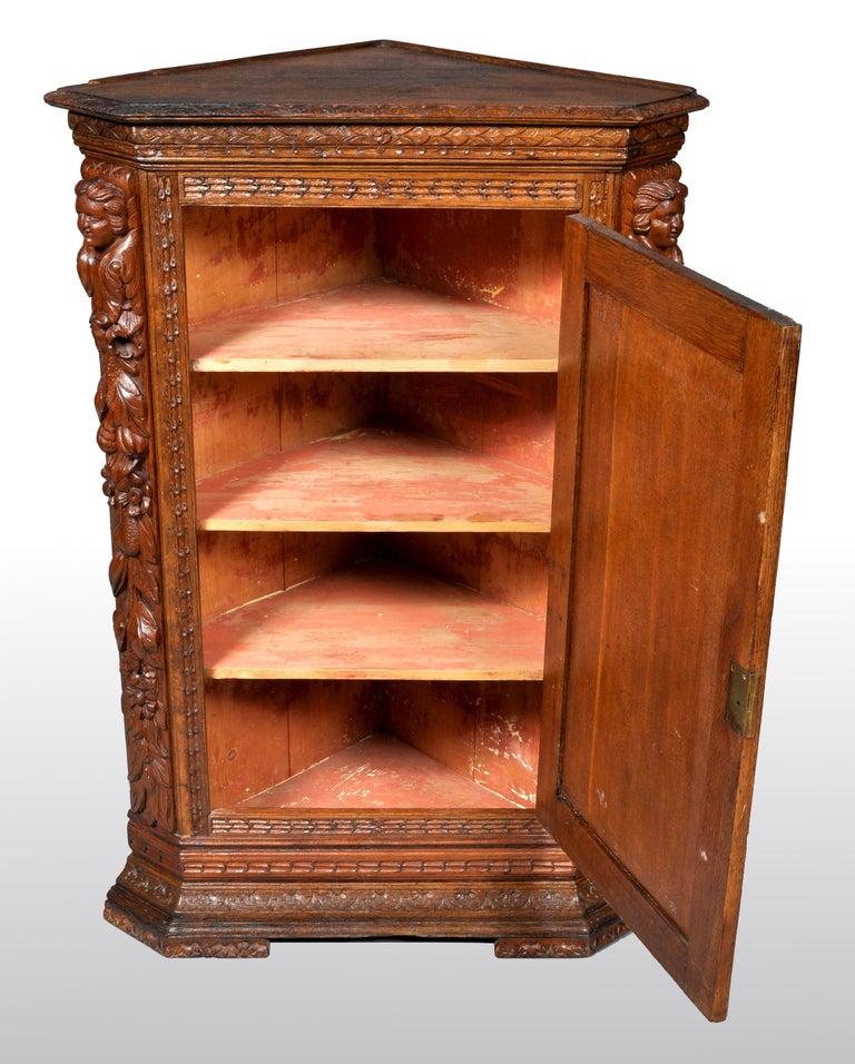 18th Century Antique French Baroque Carved Oak Corner Cabinet, circa 1780 For Sale