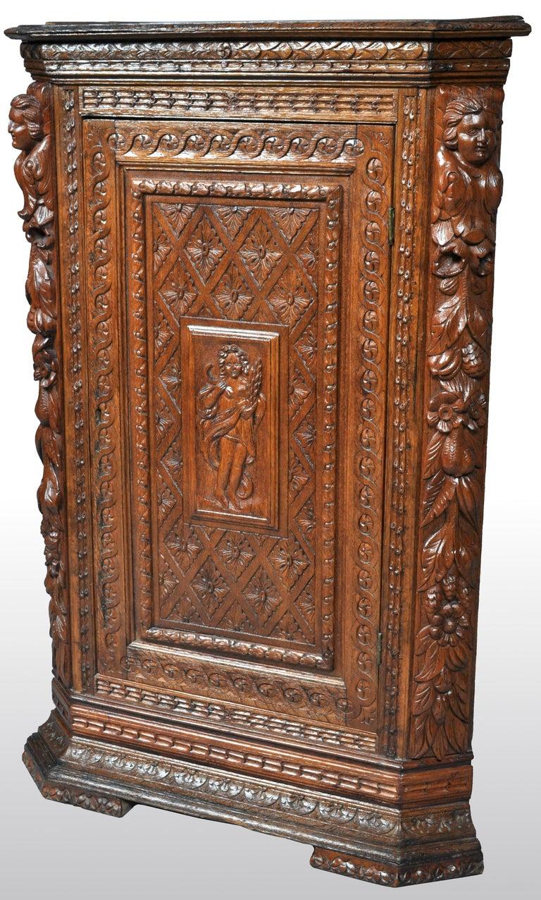 Antique French Baroque Carved Oak Corner Cabinet, circa 1780 For Sale 3