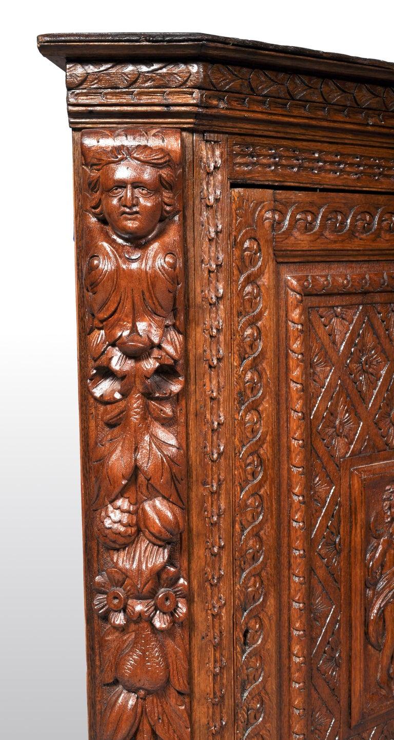 Antique French Baroque Carved Oak Corner Cabinet, circa 1780 For Sale 4