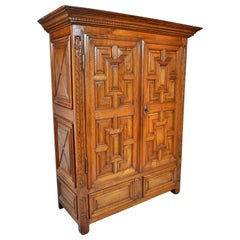 Antique French Provincial Walnut Armoire / Cabinet, circa 1750