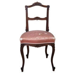 Antique French Provincial Walnut Carved Parlor Side Accent Desk Chair Scalloped