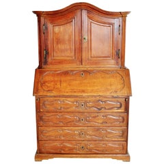 Antique French Provincial Walnut Secretary/Bureau Bookcase, circa 1760
