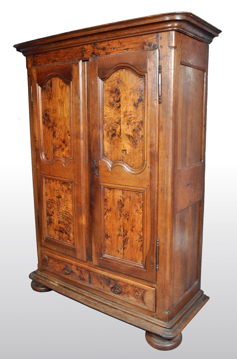 Hand-Carved Antique French Provincial Walnut Wedding Armoire, circa 1750 For Sale