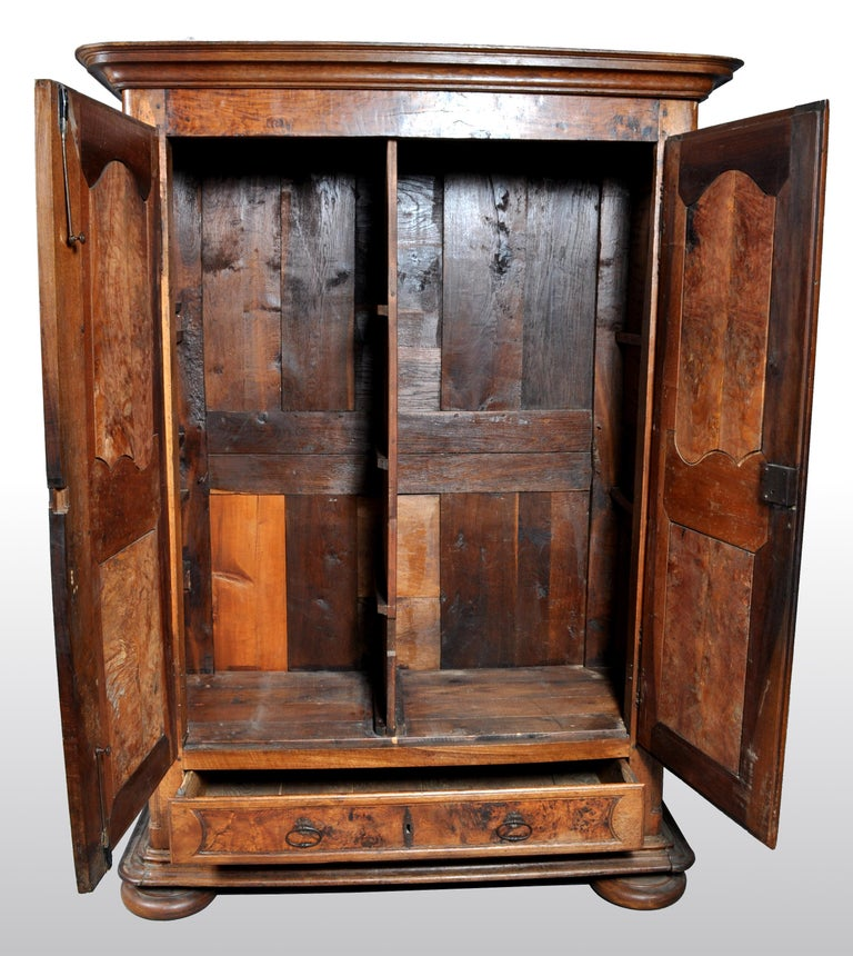 18th Century Antique French Provincial Walnut Wedding Armoire, circa 1750 For Sale