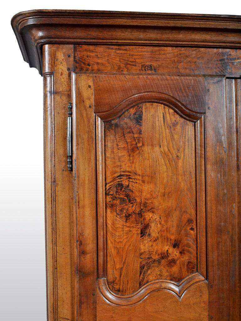 Antique French Provincial Walnut Wedding Armoire, circa 1750 For Sale 1