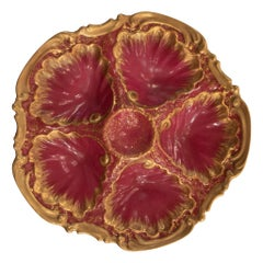 Antique French Raspberry and Gold Limoges Porcelain Oyster Plate, circa 1890s