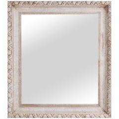 Antique French Raw Oak Mirror