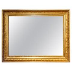 Antique French Rectangular Gilt Reverse Bevel Frame Mirror