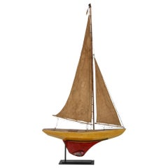 Antique French Red and Yellow Model Sailboat