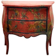 Antique French Red Chinoiserie Bombe Chest of Drawers with Decoupage