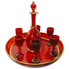 Antique French Red Crystal Aperitif Service, circa 1880