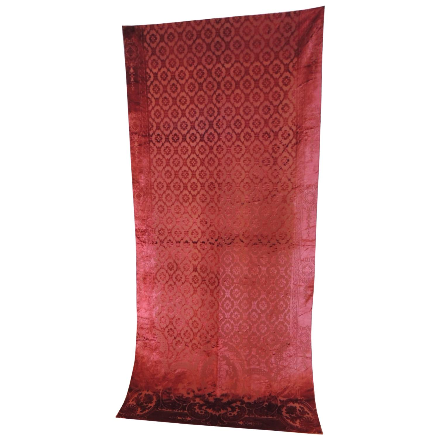Antique French Red Silk Velvet Gaufrage Drapery Panel