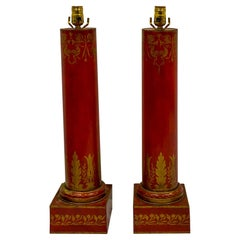 Antique French Red Tole Neo-Classical Cylinder Form Table Lamps, a Pair