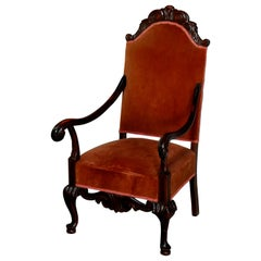 Antique French Regence Style Carved Mahogany and Upholstered Throne Chair