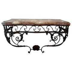 Antique French Regence Wrought Iron Console Table with Marble Top