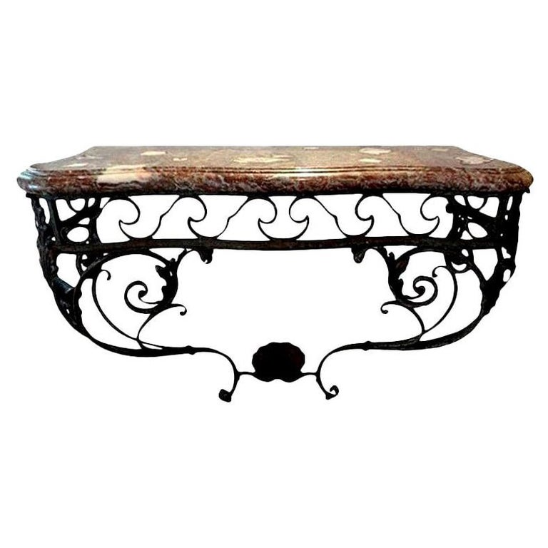 Antique French Regence Wrought Iron Console Table with Marble Top For Sale