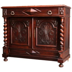 Antique French Renaissance Carved Walnut Marble Top Sideboard, 19th Century