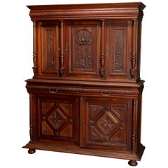 Antique French Renaissance Deeply Carved Walnut Cupboard, 19th Century