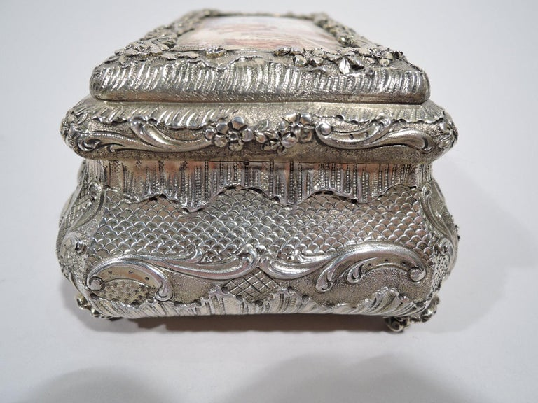 Antique French Renaissance Revival Silver Gilt and Enamel Casket Box In Good Condition For Sale In New York, NY