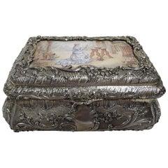 Antique French Renaissance Revival Silver Gilt and Enamel Casket Box