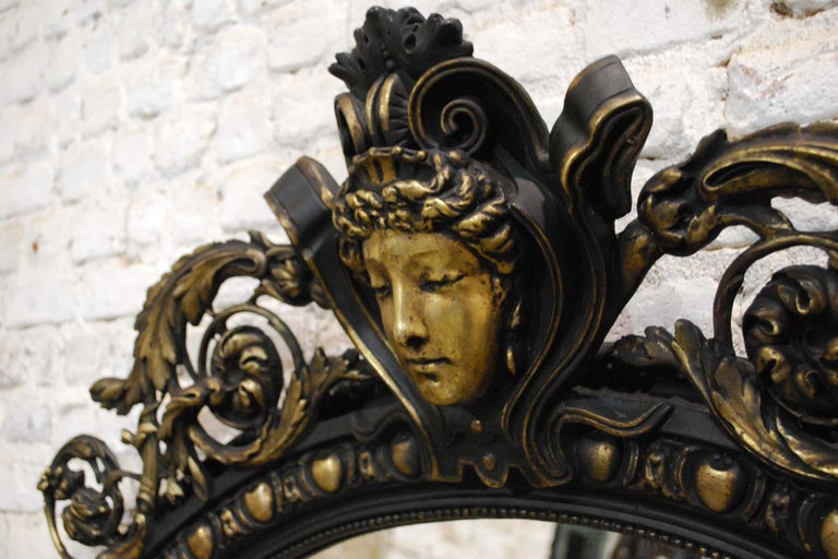 Antique French Renaissance Style Black and Gold Mirror with Carved Ornaments For Sale 2
