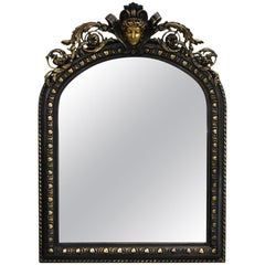 Antique French Renaissance Style Black and Gold Mirror with Carved Ornaments