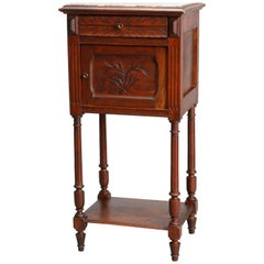 Antique French Renaissance Style Marble-Top Side Stand, 20th Century