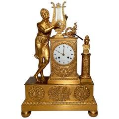 Antique French Restoration Period Ormolu Clock, Circa 1830