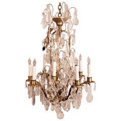 Antique French Richly Draped Baccarat Crystal and Ormolu Chandelier
