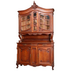 Antique French Rococo Carved Walnut Step Back Cupboard, 19th Century