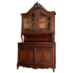 Antique French Rococo Carved Walnut Step Back Hunt Cupboard, 19th Century