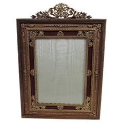 Antique French Rococo Gilt-Bronze and Red Enamel Picture Frame