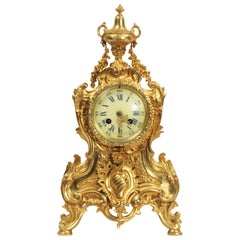 Antique French Rococo Gilt Bronze Clock