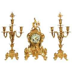 Antique French Rococo Gilt Bronze Clock Set by Verger Freres of Paris