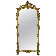 """Antique French Rococo Gold Giltwood Italian 65"""" Tall Console Wall Pier Mirror"""