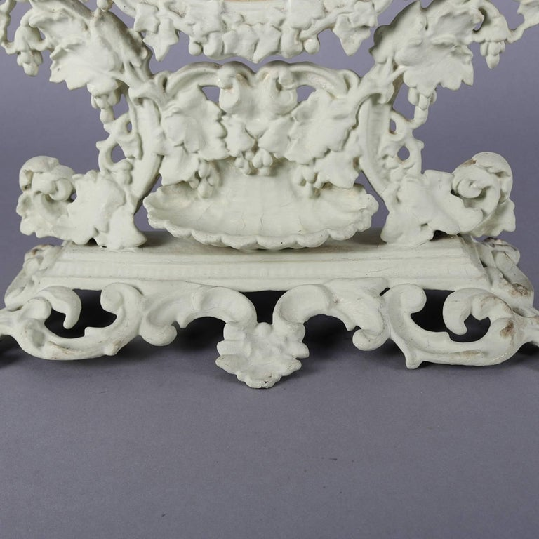 Antique French Rococo Grape & Leaf Painted Cast Iron Table Mirror, circa 1890 For Sale 6